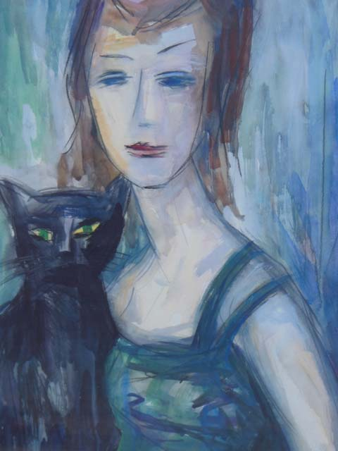 Lady with Cat - Ivan Guzul - Artluxkünstler, Mühlengalerie Thomas Lux,